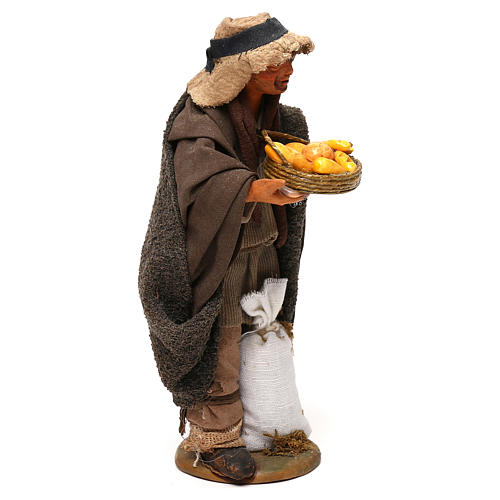STOCK Pastore con pane vestito terracotta 18 cm presepe napoletano 4