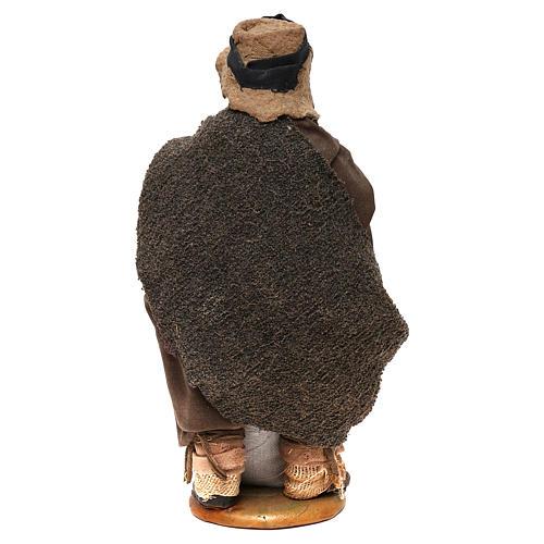 STOCK Pastore con pane vestito terracotta 18 cm presepe napoletano 5