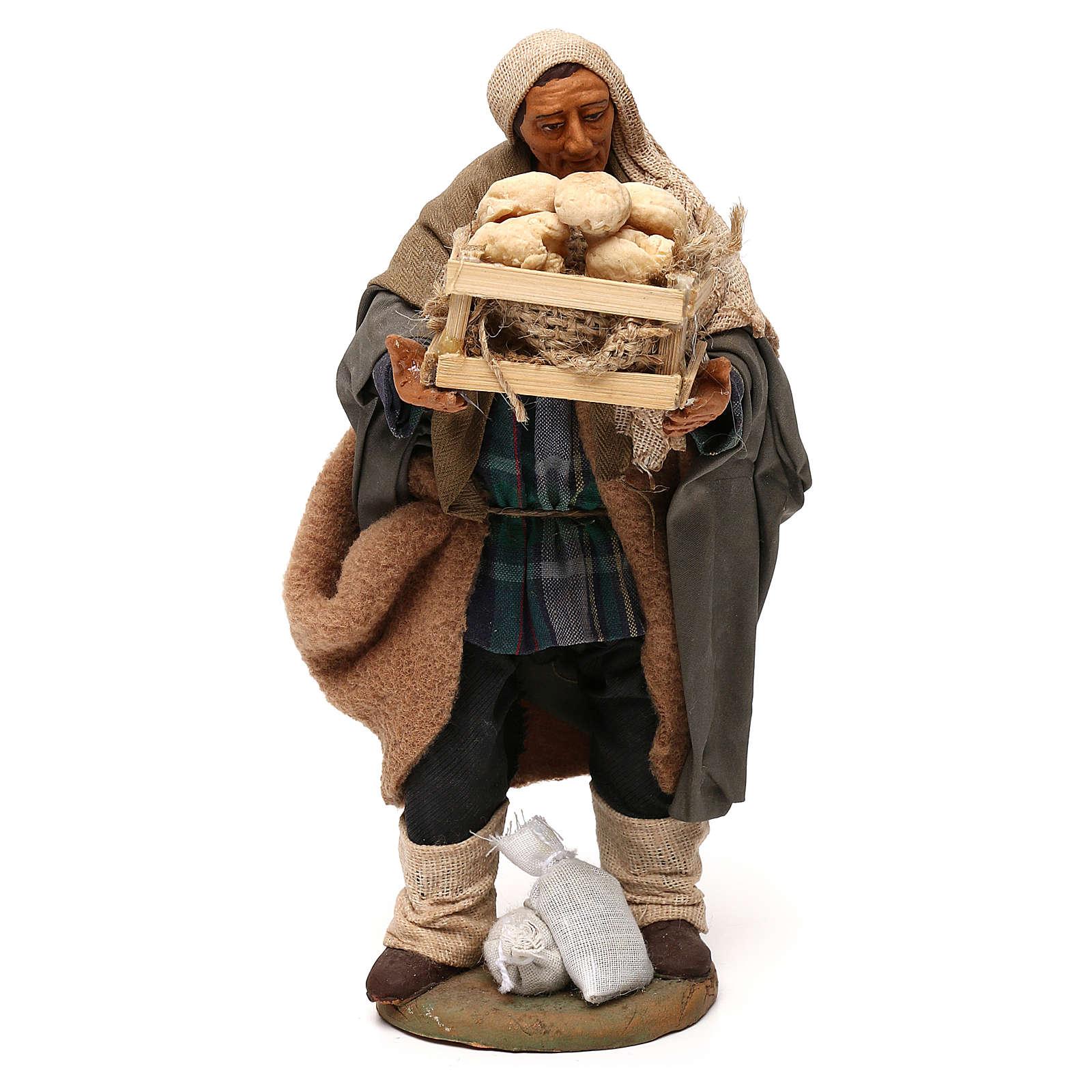 STOCK Pastore con pane vestito terracotta misura 18 cm presepe napoletano 4
