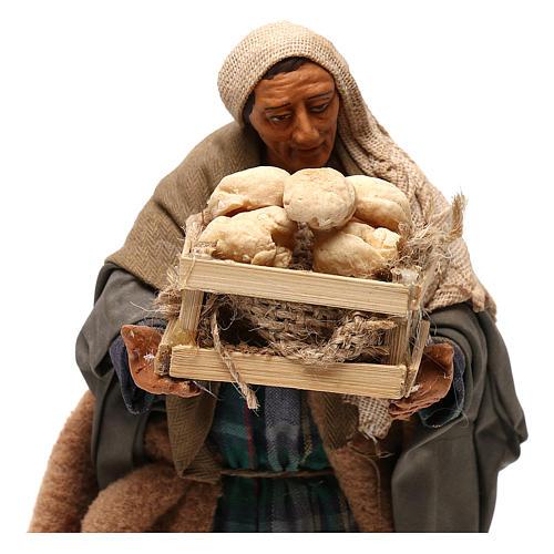 STOCK Pastore con pane vestito terracotta misura 18 cm presepe napoletano 2