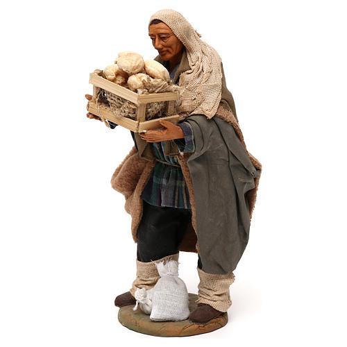 STOCK Pastore con pane vestito terracotta misura 18 cm presepe napoletano 3