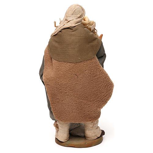 STOCK Pastore con pane vestito terracotta misura 18 cm presepe napoletano 5