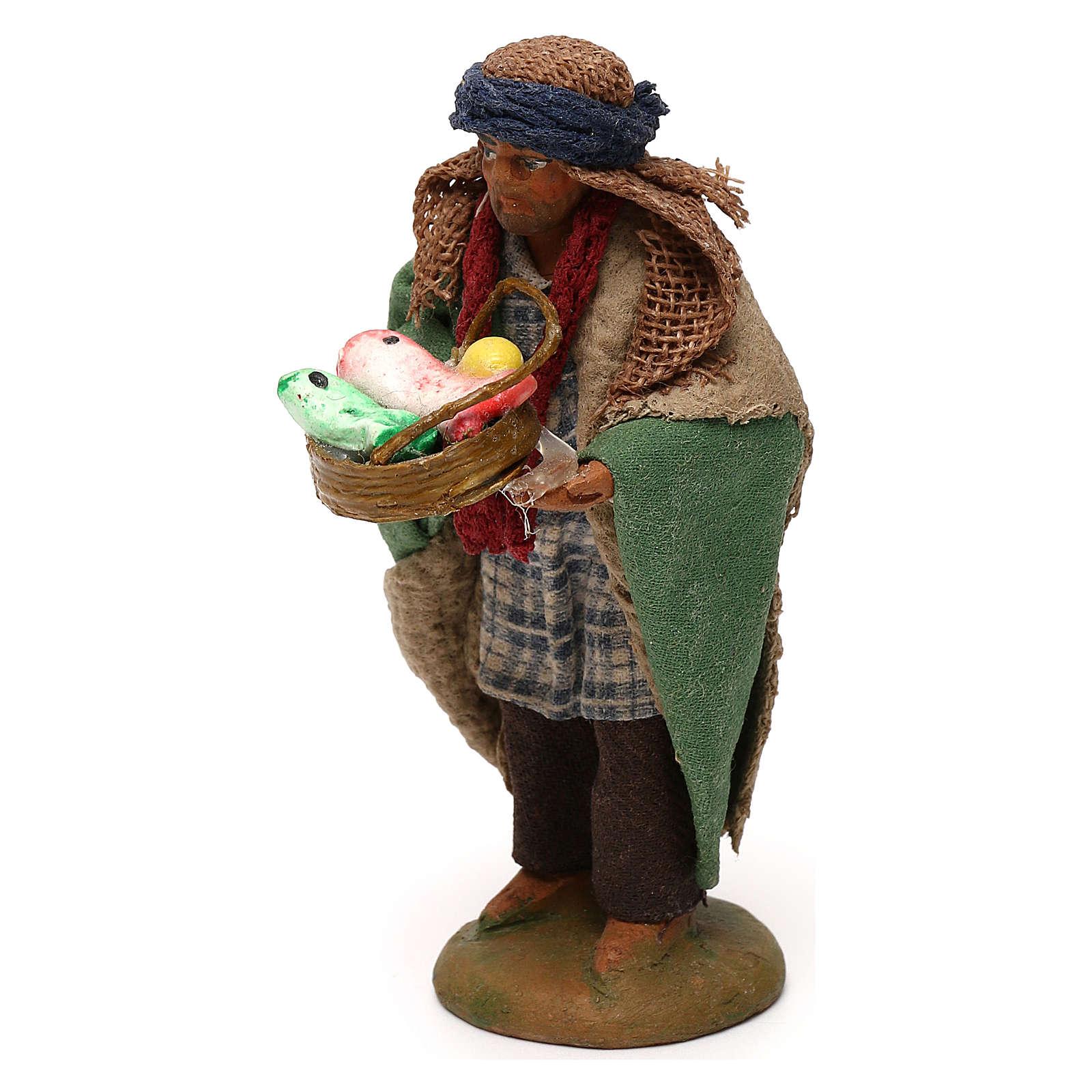 STOCK Pastore con cesto pesci vestito terracotta 10 cm Presepe Napoletano 4
