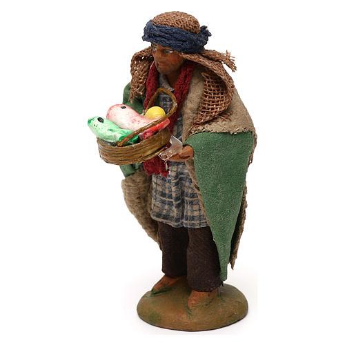 STOCK Pastore con cesto pesci vestito terracotta 10 cm Presepe Napoletano 2