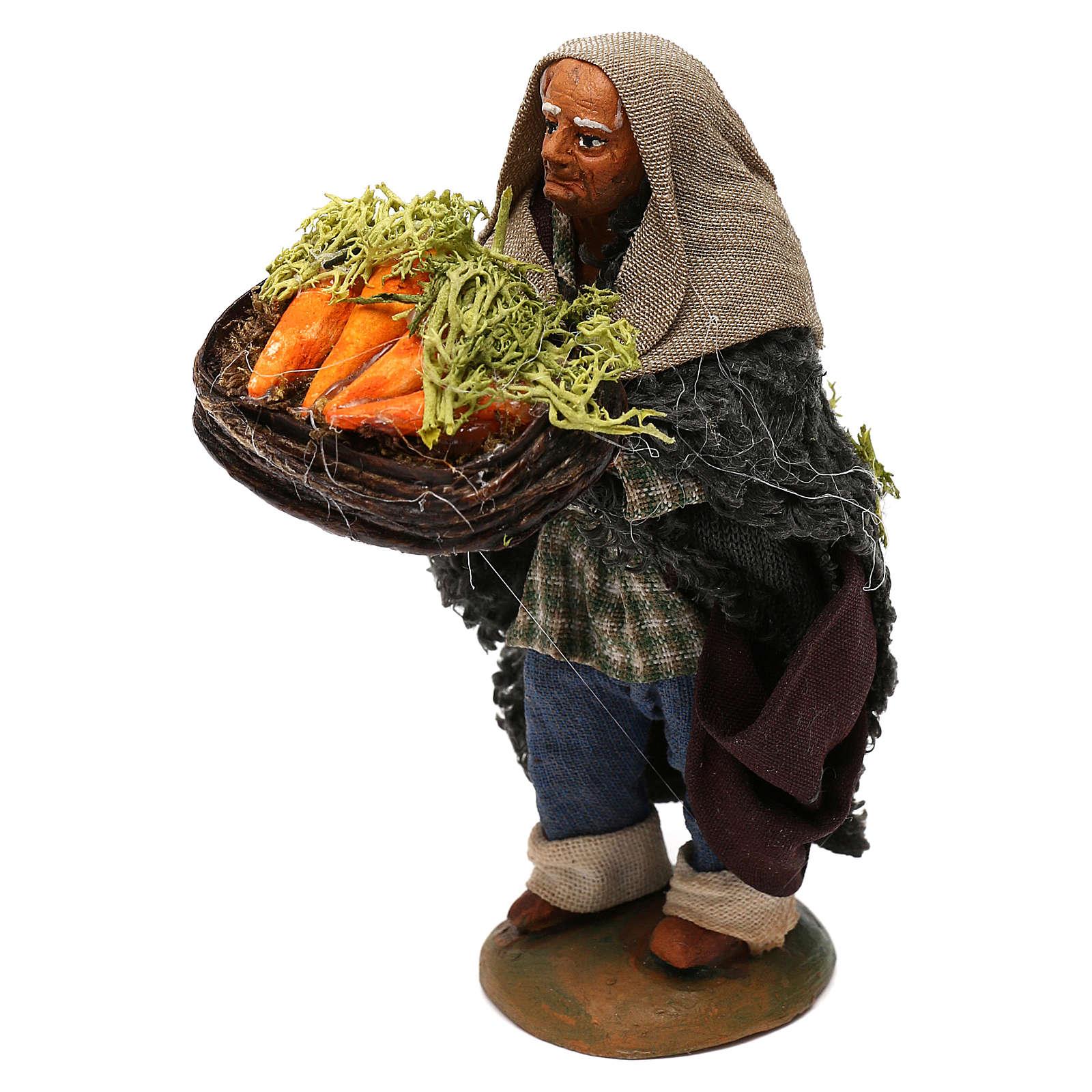 STOCK Pastore con cesto carote vestito in terracotta di 10 cm Presepe Napoletano 4