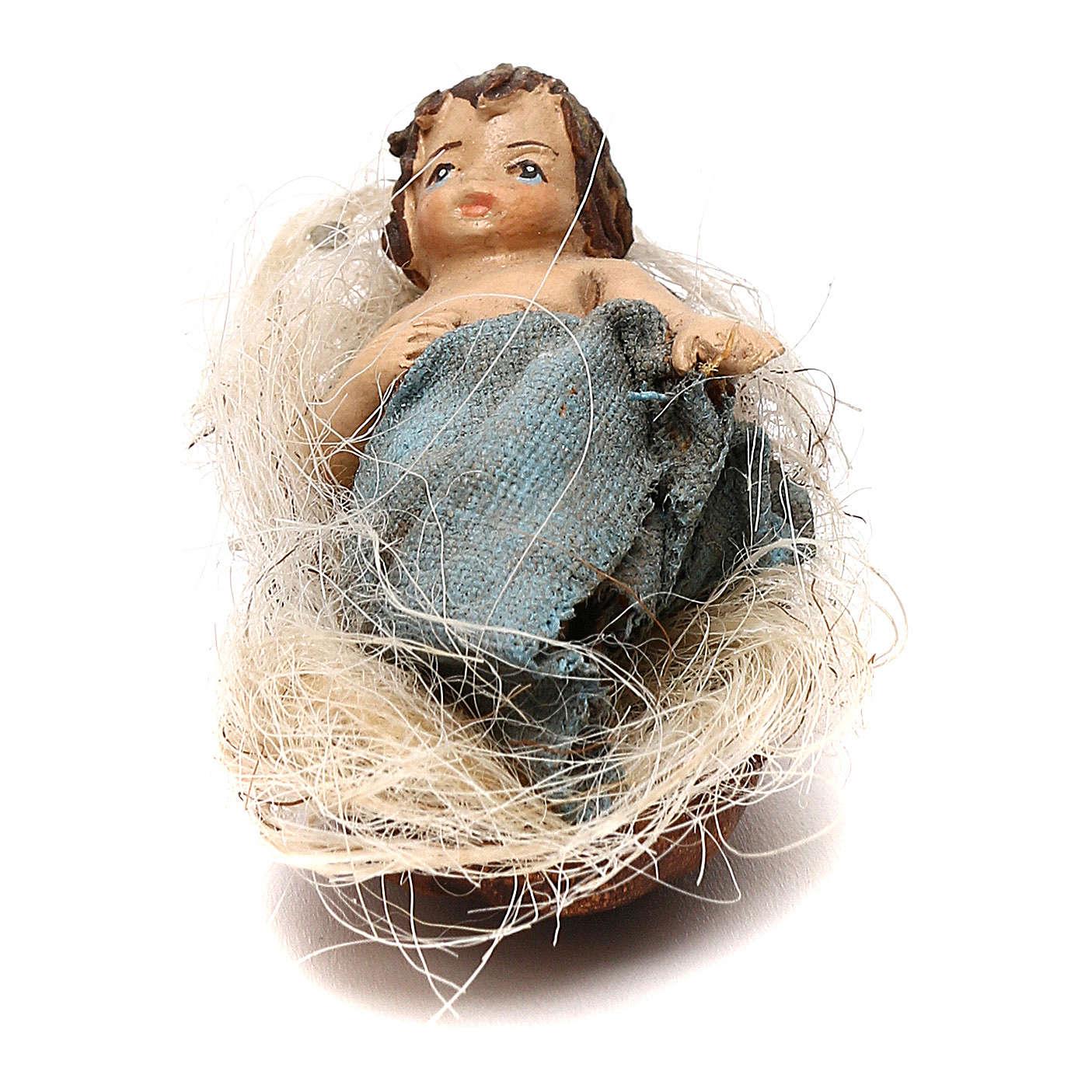 STOCK Bambino nella culla vestito extra in terracotta cm 10 presepe napoletano 4