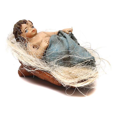 STOCK Bambino nella culla vestito extra in terracotta cm 10 presepe napoletano 2