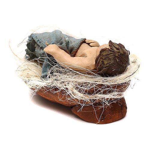 STOCK Bambino nella culla vestito extra in terracotta cm 10 presepe napoletano 3