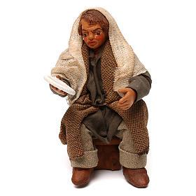 STOCK Uomo seduto con piatto vestito terracotta 10 cm presepe napoletano s1