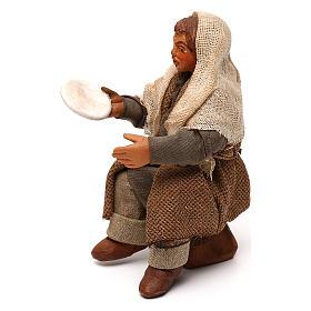 STOCK Uomo seduto con piatto vestito terracotta 10 cm presepe napoletano s2