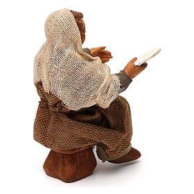 STOCK Uomo seduto con piatto vestito terracotta 10 cm presepe napoletano s3