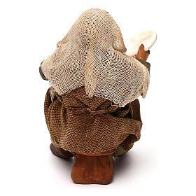 STOCK Uomo seduto con piatto vestito terracotta 10 cm presepe napoletano s4