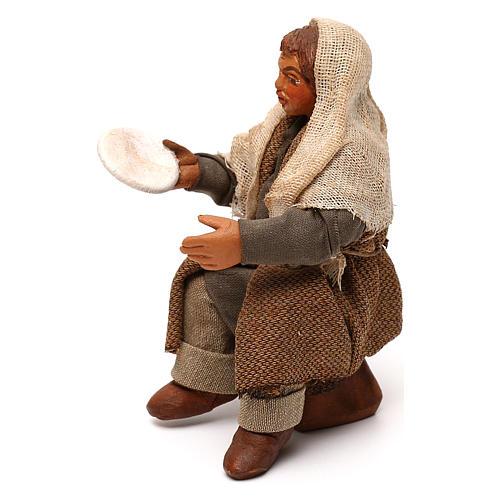 STOCK Uomo seduto con piatto vestito terracotta 10 cm presepe napoletano 2