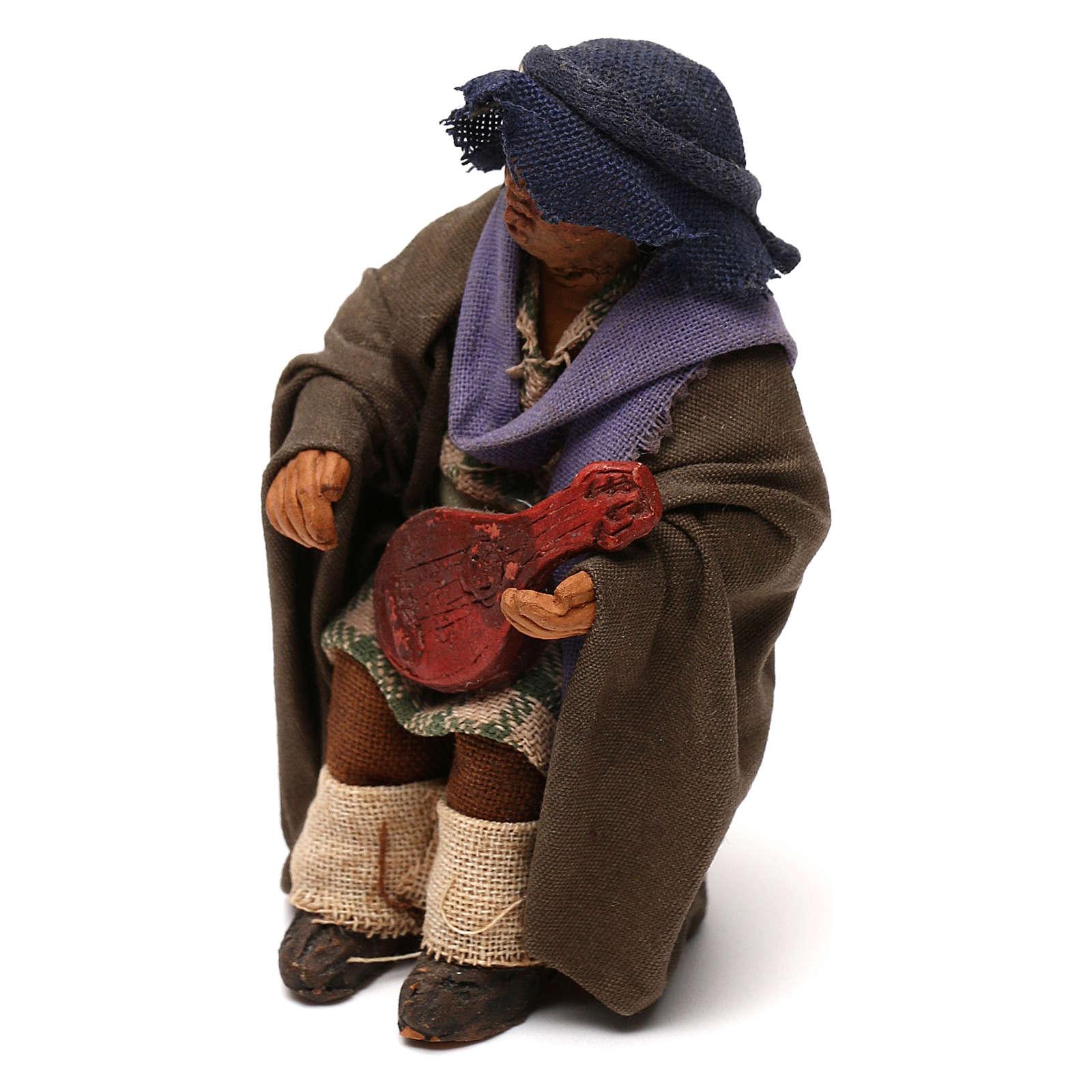 STOCK Uomo seduto con chitarra vestito terracotta 10 cm presepe napoletano 4