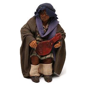 STOCK Uomo seduto con chitarra vestito terracotta 10 cm presepe napoletano s1