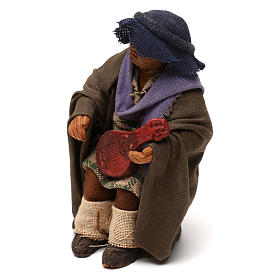 STOCK Uomo seduto con chitarra vestito terracotta 10 cm presepe napoletano s2