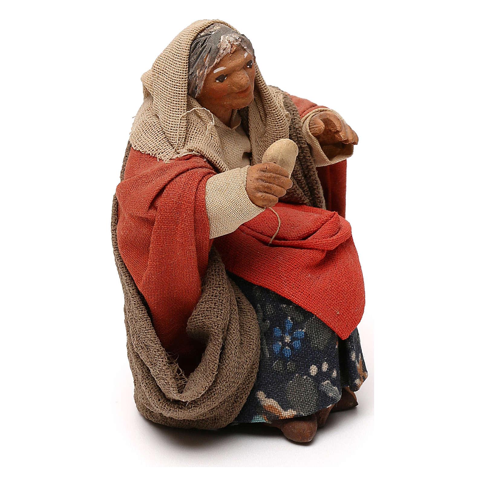 STOCK Donna seduta vestita con pane in terracotta cm 10 presepe napoletano 4