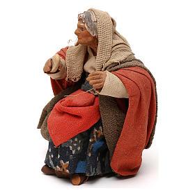 STOCK Donna seduta vestita con pane in terracotta cm 10 presepe napoletano s2