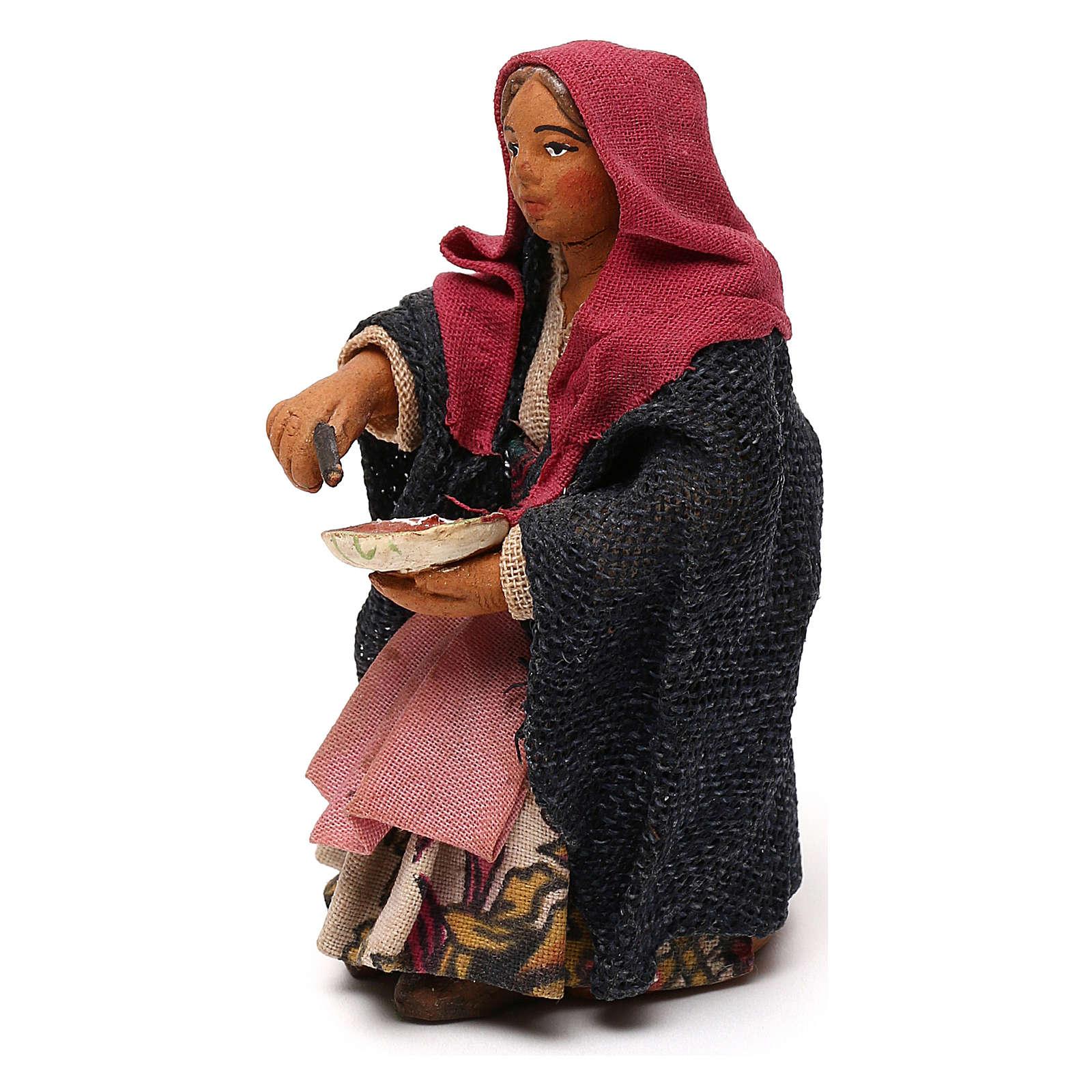 STOCK Donna seduta vestita con pizza in terracotta cm 10 presepe napoletano 4