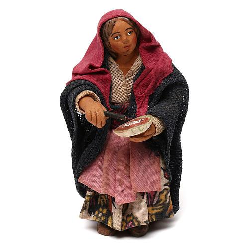 STOCK Donna seduta vestita con pizza in terracotta cm 10 presepe napoletano 1
