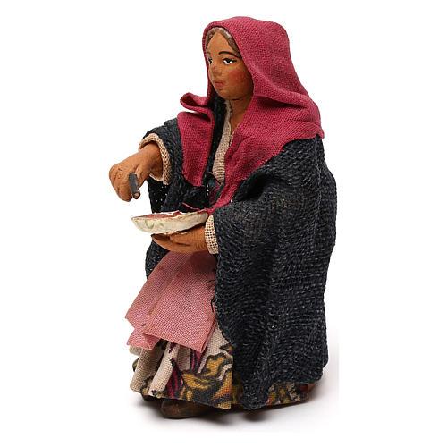 STOCK Donna seduta vestita con pizza in terracotta cm 10 presepe napoletano 2