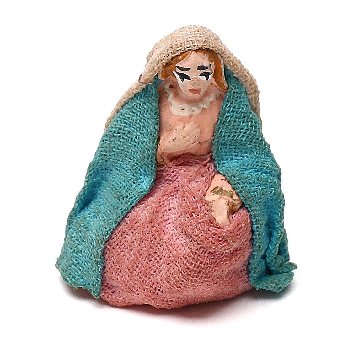 STOCK Virgen vestida de terracota de 4 cm Belén Napolitano 4