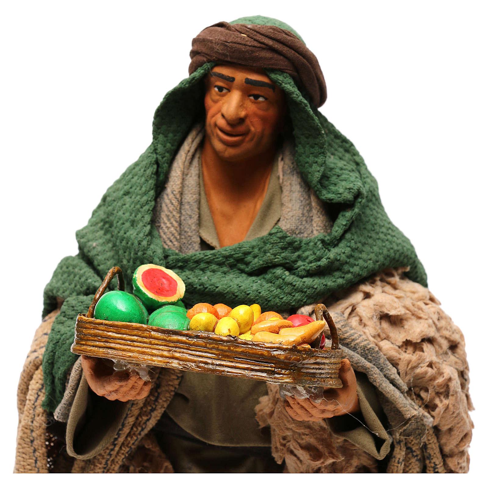 STOCK Pastore con frutta vestito in terracotta 30 cm presepe napoletano 4