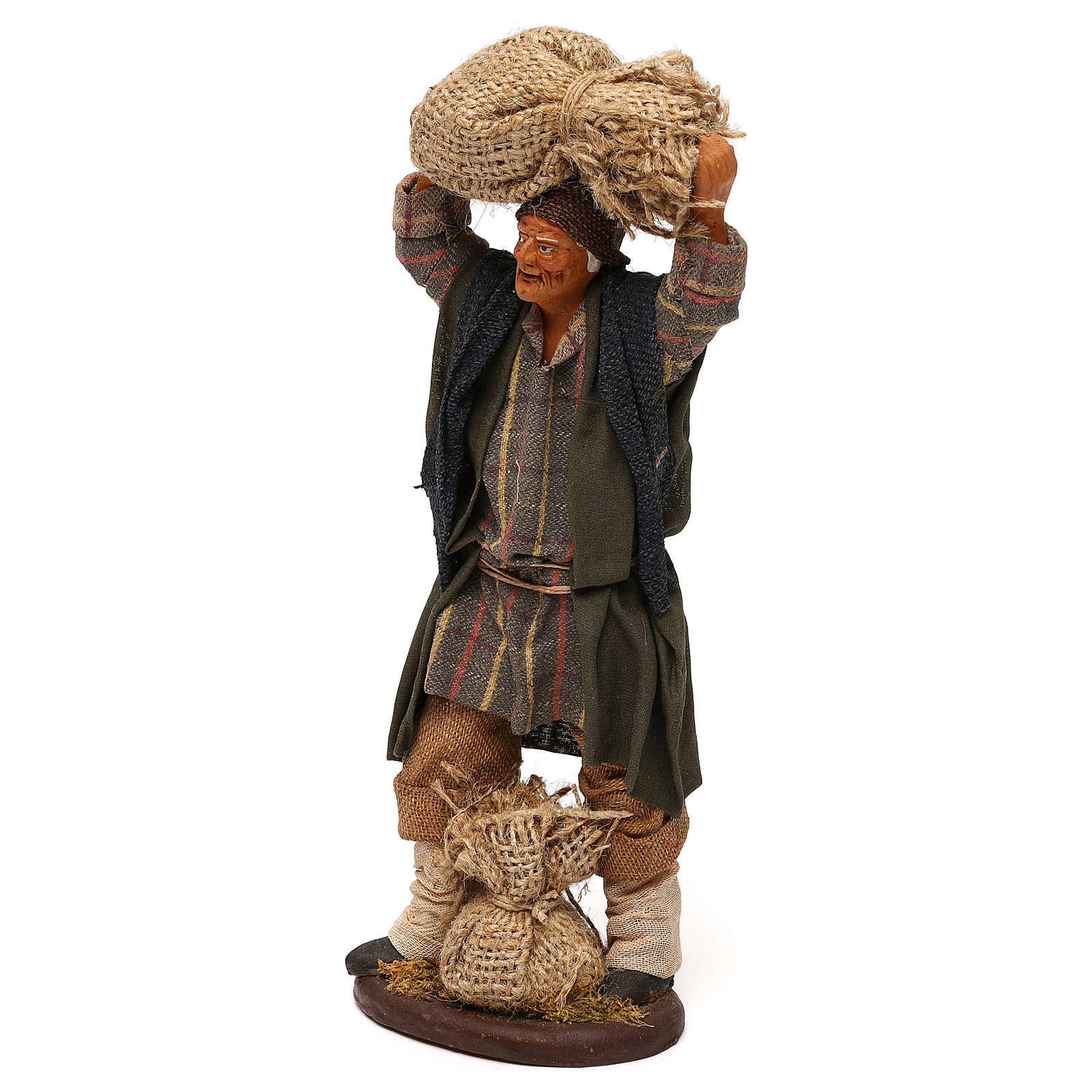 STOCK Uomo con sacchi vestito in terracotta 18 cm presepe napoletano 4
