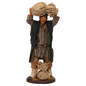 STOCK Uomo con sacchi vestito in terracotta 18 cm presepe napoletano s1