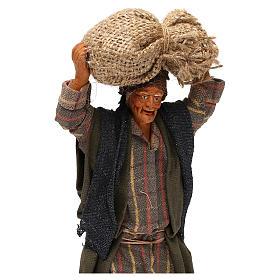 STOCK Uomo con sacchi vestito in terracotta 18 cm presepe napoletano s2