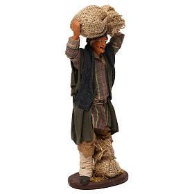 STOCK Uomo con sacchi vestito in terracotta 18 cm presepe napoletano s4