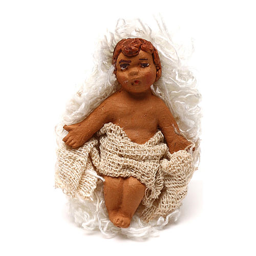 STOCK Baby Jesus manger dressed in terracotta, 7 cm Neapolitan nativity 1