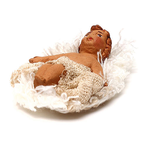 STOCK Baby Jesus manger dressed in terracotta, 7 cm Neapolitan nativity 2