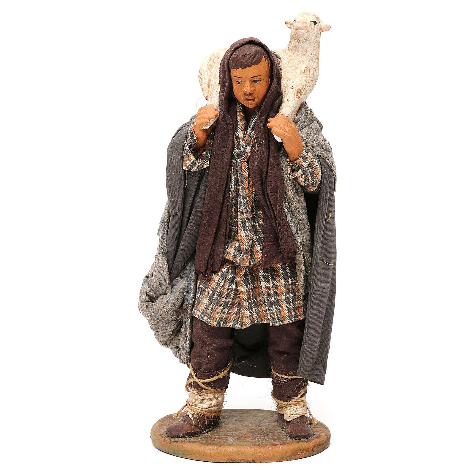 STOCK Pastore con pecora vestito in terracotta cm 18 presepe napoletano 4