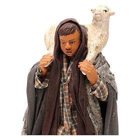 STOCK Pastore con pecora vestito in terracotta cm 18 presepe napoletano s2