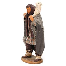 STOCK Pastore con pecora vestito in terracotta cm 18 presepe napoletano s3
