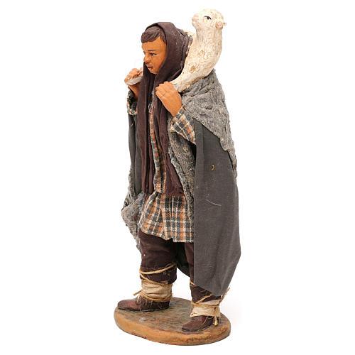STOCK Pastore con pecora vestito in terracotta cm 18 presepe napoletano 3