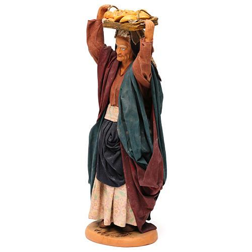STOCK Femme avec panier en terre cuite 30 cm crèche Naples 3