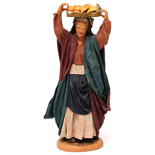 STOCK Donna con cesto vestita terracotta di 30 cm presepe napoletano 1