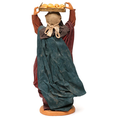 STOCK Donna con cesto vestita terracotta di 30 cm presepe napoletano 5