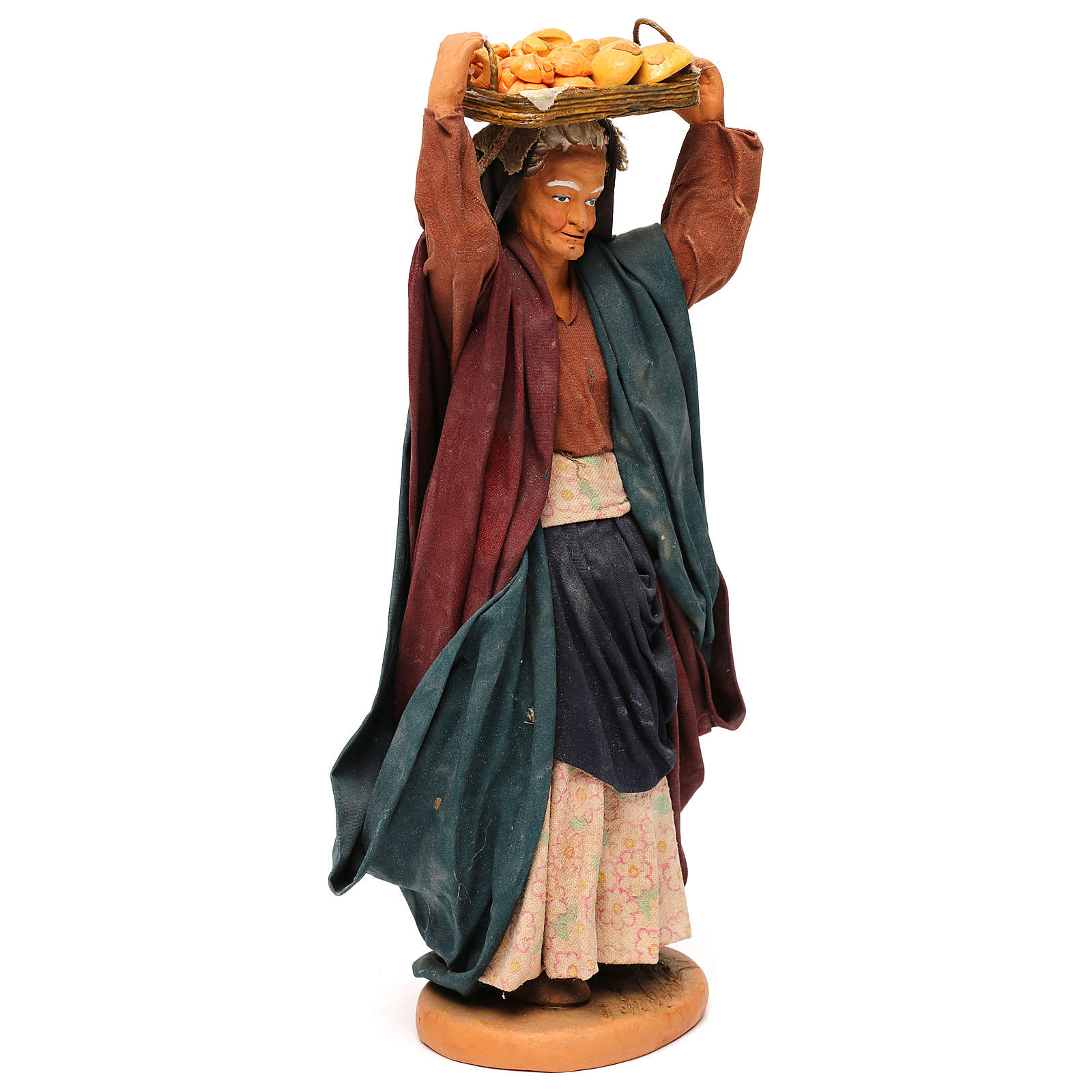 STOCK Woman carrying basket dressed in terracotta, 30 cm Neapolitan nativity 4