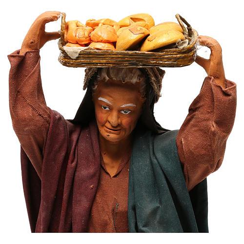 STOCK Woman carrying basket dressed in terracotta, 30 cm Neapolitan nativity 2