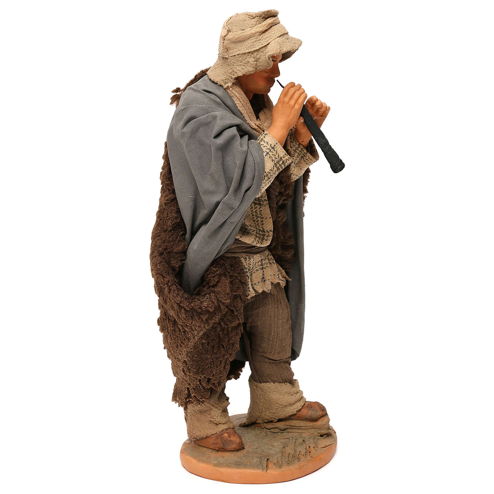 STOCK Flautista vestido terracota cm 30 Belén Napolitano 4