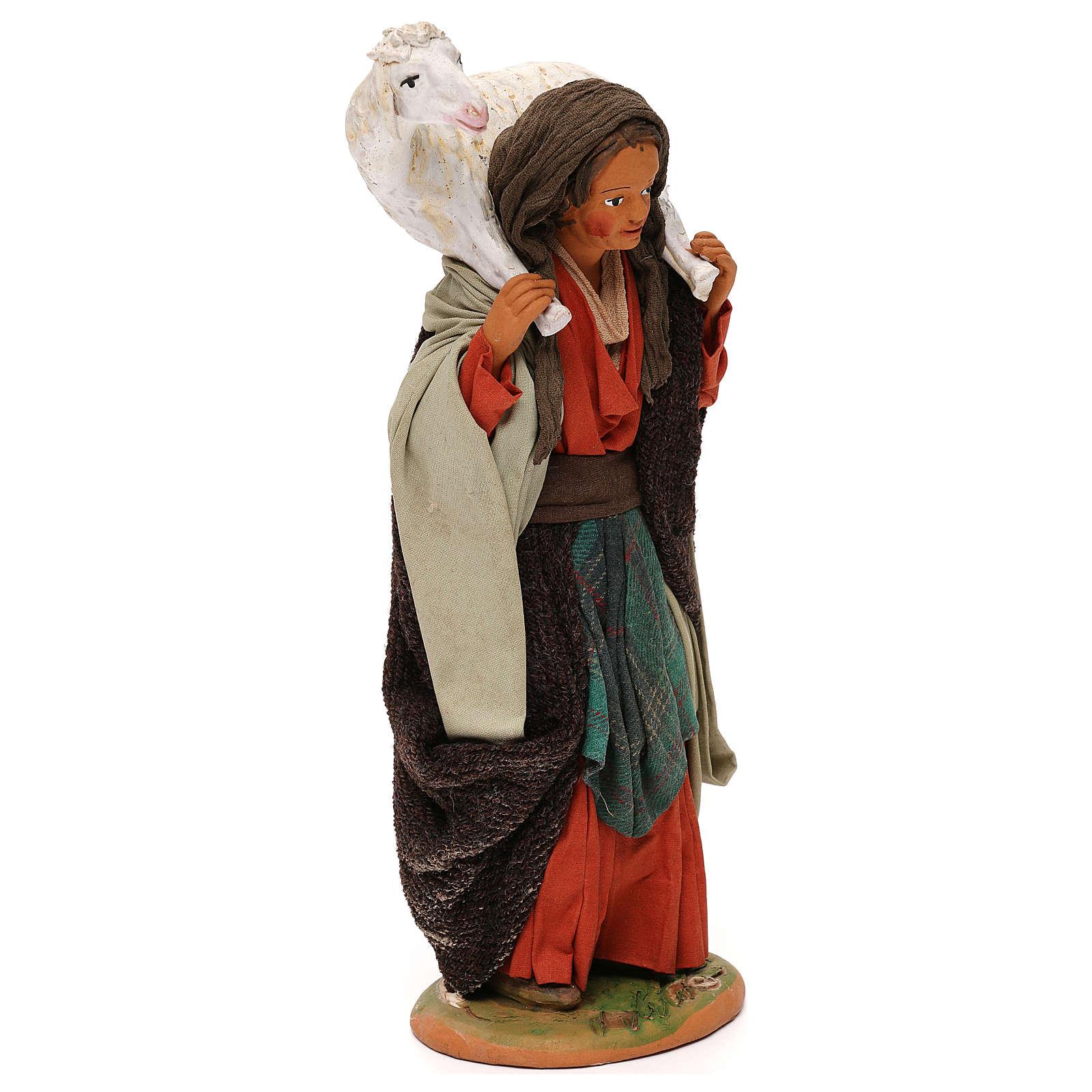 STOCK Donna con pecora vestita terracotta 30 cm Presepe Napoletano 4