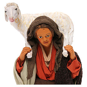 STOCK Donna con pecora vestita terracotta 30 cm Presepe Napoletano s2