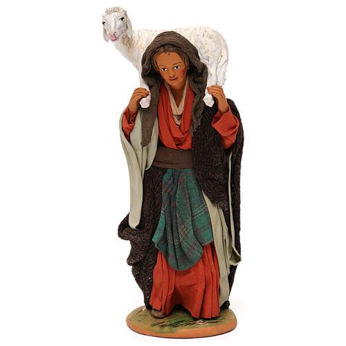 STOCK Donna con pecora vestita terracotta 30 cm Presepe Napoletano 1
