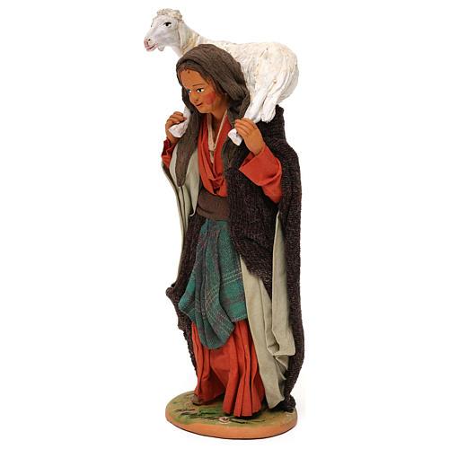 STOCK Donna con pecora vestita terracotta 30 cm Presepe Napoletano 3
