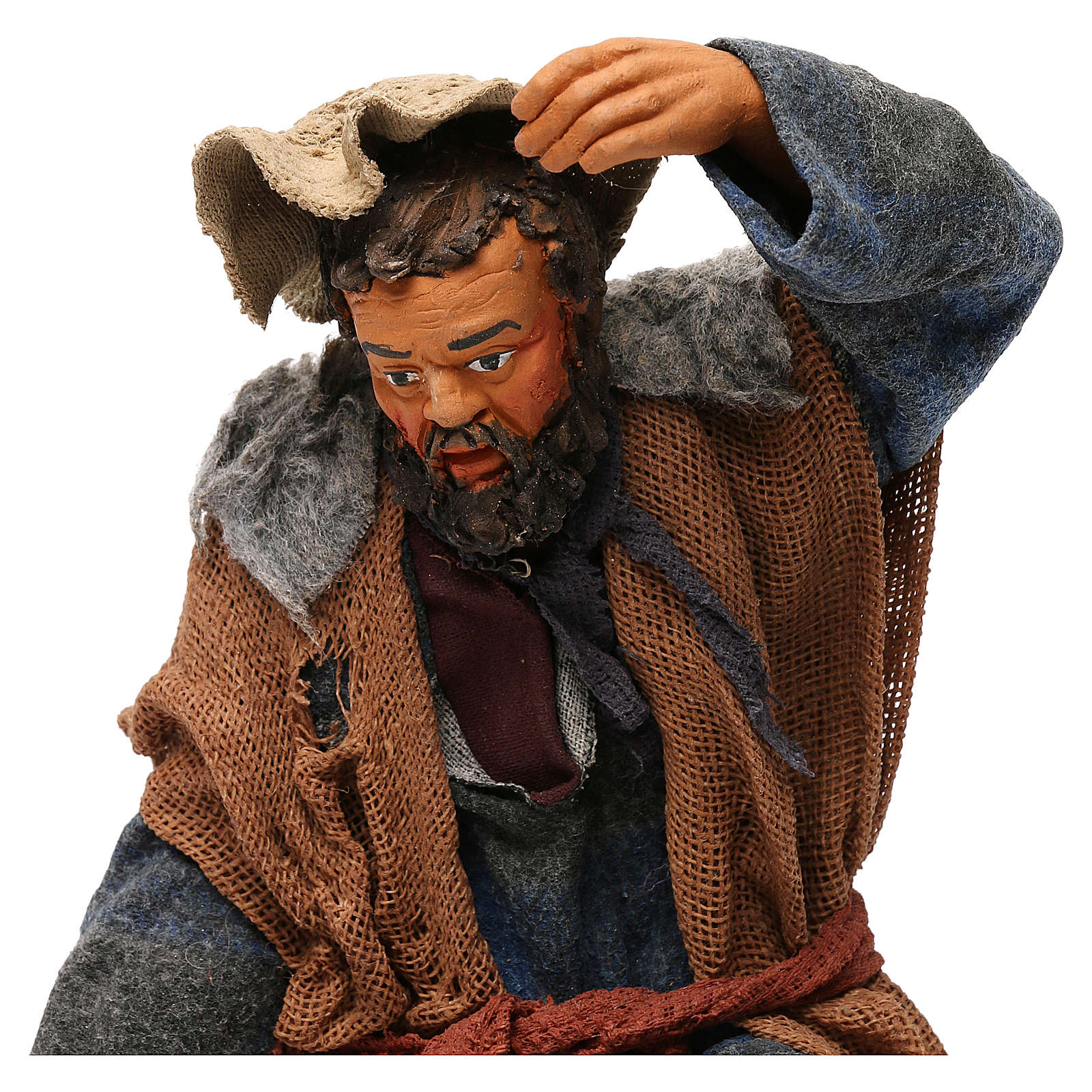 STOCK Pastore inginocchiato vestito in terracotta 30 cm Presepe Napoletano 4