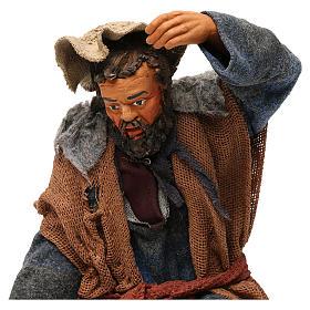 STOCK Pastore inginocchiato vestito in terracotta 30 cm Presepe Napoletano s2
