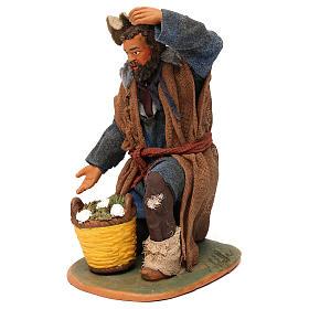 STOCK Pastore inginocchiato vestito in terracotta 30 cm Presepe Napoletano s3
